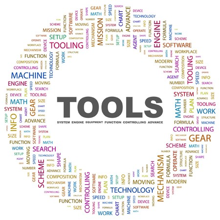 TOOLS. Word collage on white background illustration.    Stock Vector - 7339873
