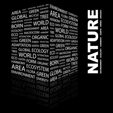 the humanities landscape: NATURE. Word collage on black background. illustration.    Illustration