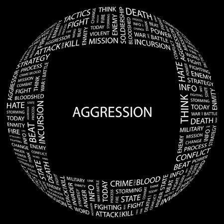 bloodshed: AGRESI�N. Palabra collage sobre fondo negro ilustraci�n.