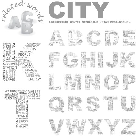 CITY.  letter collection. Word cloud illustration.   Vector