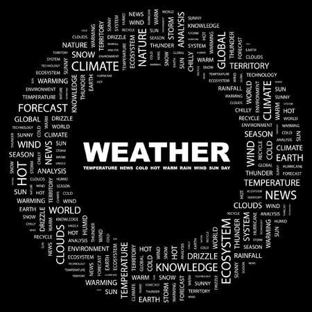 WEATHER. Word collage on black background.   illustration.    Stock Vector - 7339797