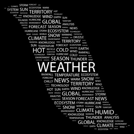 WEATHER. Word collage on black background.  illustration. Stock Vector - 7338078