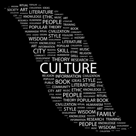 humanism: CULTURA. Palabra collage sobre fondo negro. ilustraci�n.
