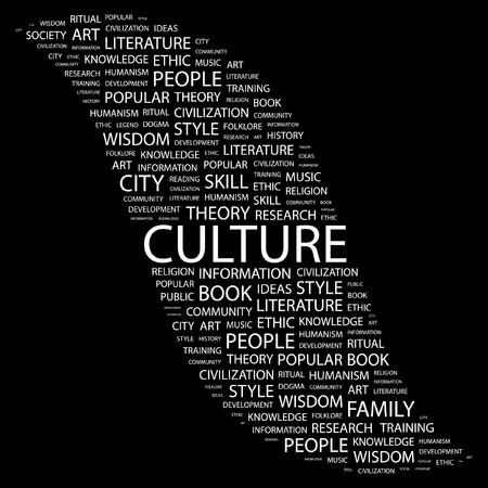 KULTUR. Wort Collage auf schwarzem Hintergrund. Abbildung.  Vektorgrafik