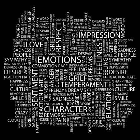 EMOTIONS. Word collage on black background. illustration.    Vector