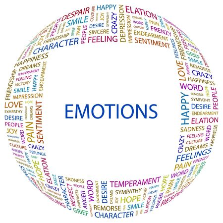commotion: EMOTIONS. Word collage on white background illustration.    Illustration