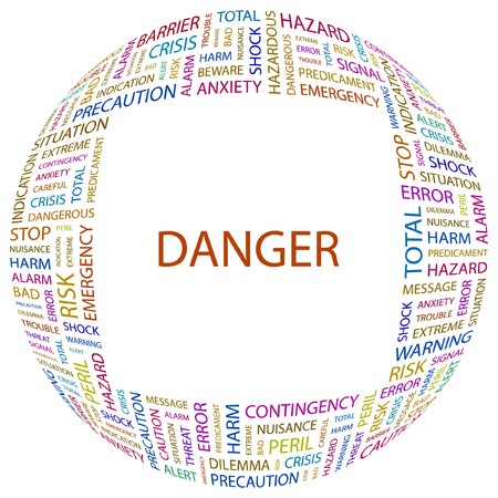 endangerment: DANGER. Word collage on white background.  illustration.
