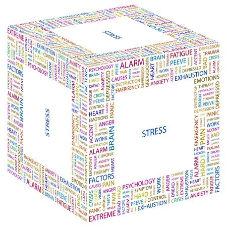 stress test: STRESS. Word collage on white background.  illustration.