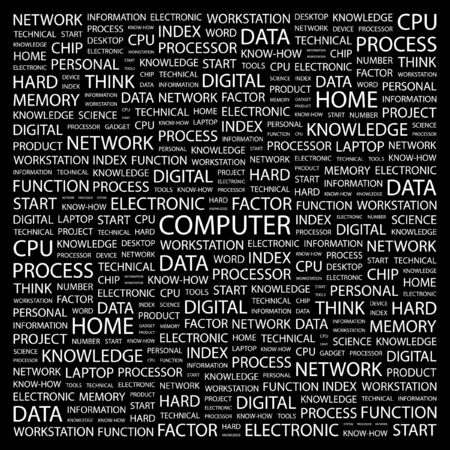 office automation: COMPUTER. Word collage on black background.  illustration.