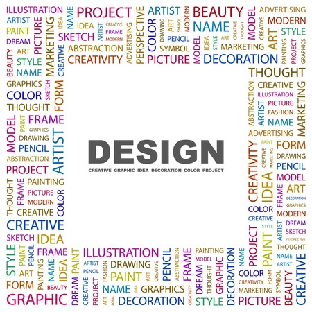 package printing: DESIGN. Word collage on white background.  illustration.   Illustration