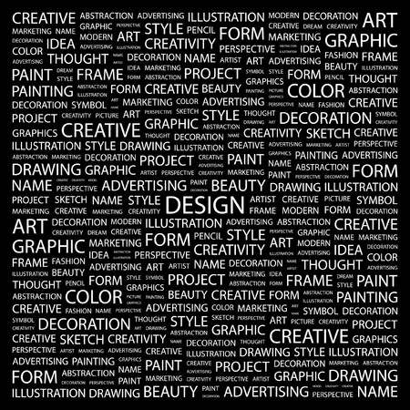 DESIGN. Word collage on black background. illustration. Stock Vector - 7338648