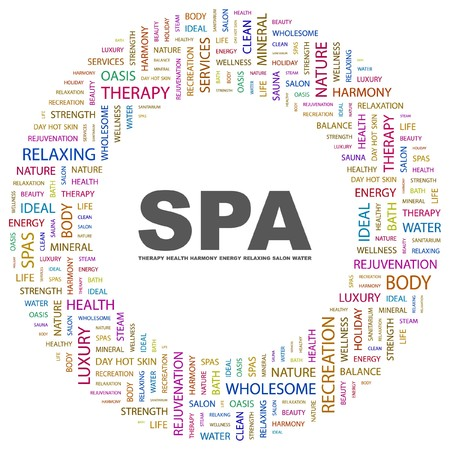 steam bath: SPA. Word collage on white background.   illustration.