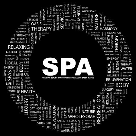 sanitarium: SPA. Word collage on black background. illustration.    Illustration