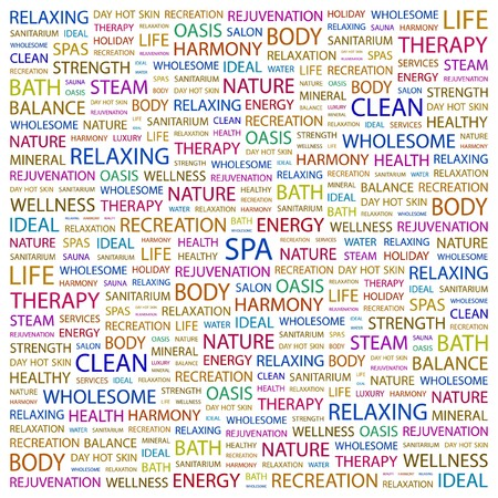 carpet clean: SPA. Word collage on white background.   illustration.