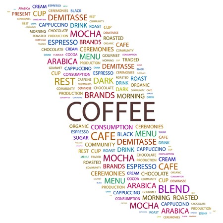 expresso: COFFEE. Word collage on white background illustration.