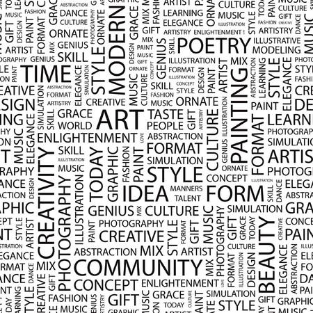 ART. Seamless   background. Word cloud illustration.   Vector