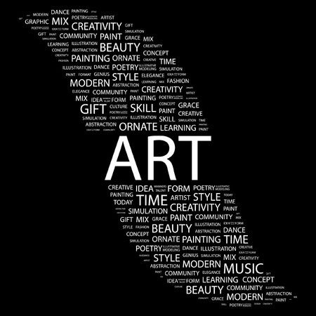 ART. Word collage on black background. illustration.    Vector
