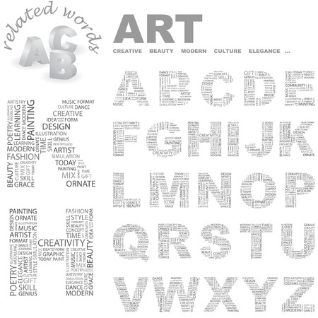 ART.   letter collection. Word cloud illustration.   Vector