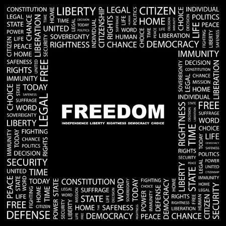 FREEDOM. Word collage on black background. illustration. Stock Vector - 7337977