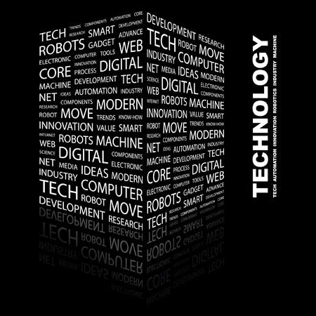 wort collage: TECHNOLOGIE. Wort Collage auf schwarzem Hintergrund. Abbildung.