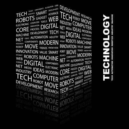 technology collage: TECHNOLOGY. Word collage on black background.  illustration.