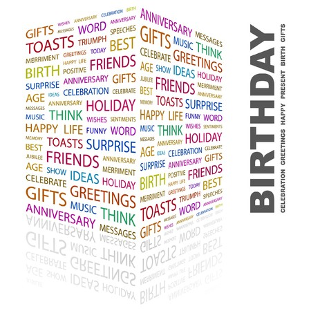 wingding: BIRTHDAY. Word collage on white background.  illustration.