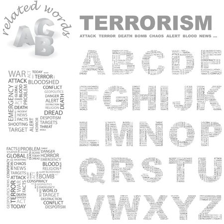 patriot act: TERRORISM.   letter collection. Word cloud illustration.   Illustration