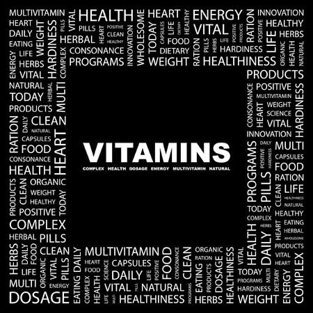 multivitamins: VITAMINS. Word collage on black background.  illustration.