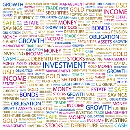 INVESTMENT. Word collage on white background.  illustration. Stock Vector - 7338652