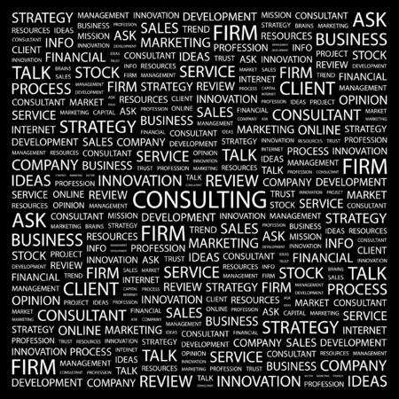 CONSULTING. Word collage on black background illustration.    Vector