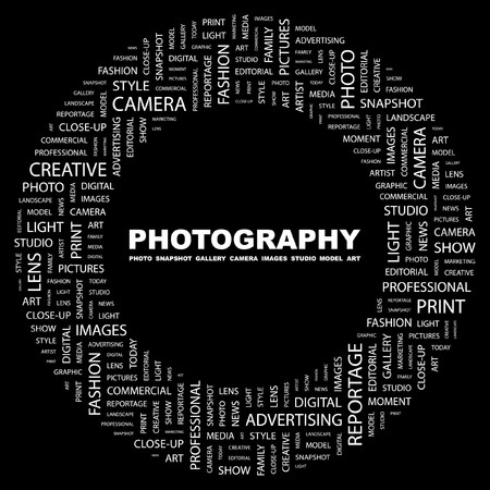 PHOTOGRAPHY. Word collage on black background. illustration. Stock Vector - 7339870