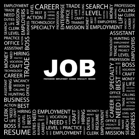 lifework: JOB. Word collage on black background. illustration.