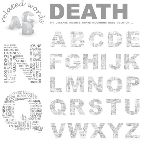 agony: DEATH.  letter collection. Word cloud illustration.
