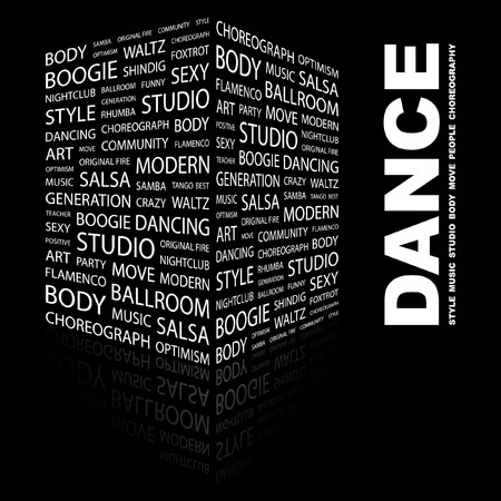 square dancing: DANCE. Word collage on black background.  illustration.