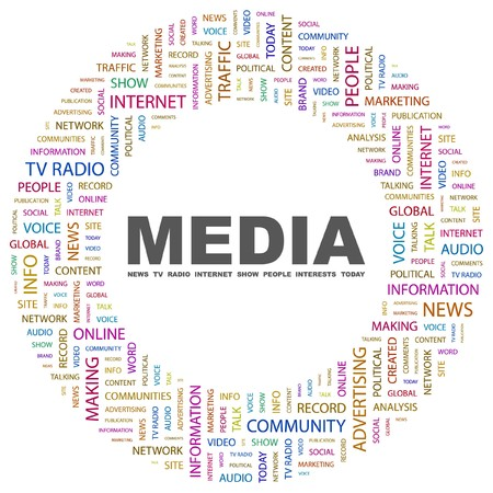 MEDIA. Word collage on white background illustration.    Vector