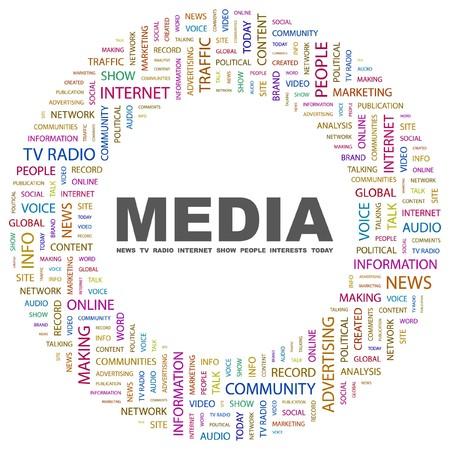 accessing: MEDIOS DE COMUNICACI�N. Collage de Word en ilustraci�n de fondo blanco.  Vectores