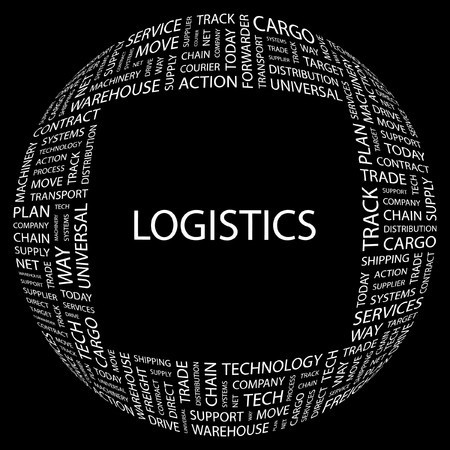 LOGISTICS. Word collage on black background.  illustration.    Stock Vector - 7339932