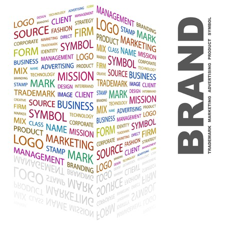 brand new: BRAND. Word collage on white background. illustration.