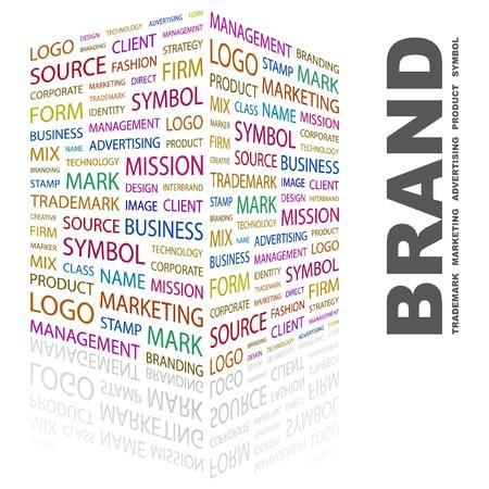 merken: MERK. Word collage op witte achtergrond. illustratie.    Stock Illustratie