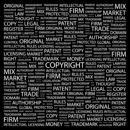 COPYRIGHT. Word collage on black background. illustration. Stock Vector - 7340889