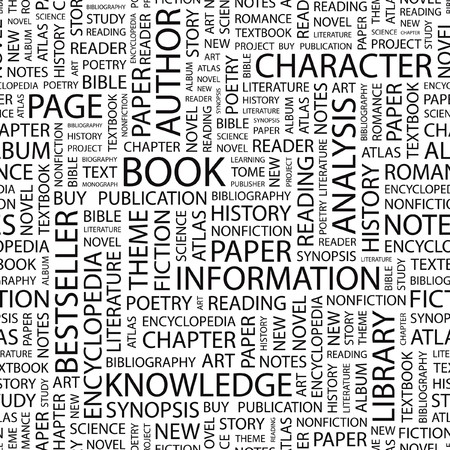 books new books: BOOK. Seamless   pattern with word cloud.   Illustration