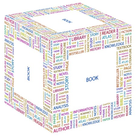 synopsis: BOOK. Word collage on white background. illustration.    Illustration