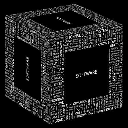 sistema operativo: SOFTWARE. Palabra collage sobre fondo negro. ilustraci�n.