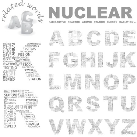 kilowatts: NUCLEAR. letter collection. Word cloud illustration.