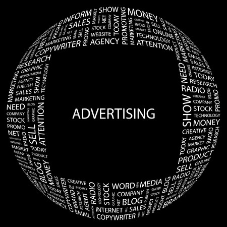 ADVERTISING. Word collage on black background.
