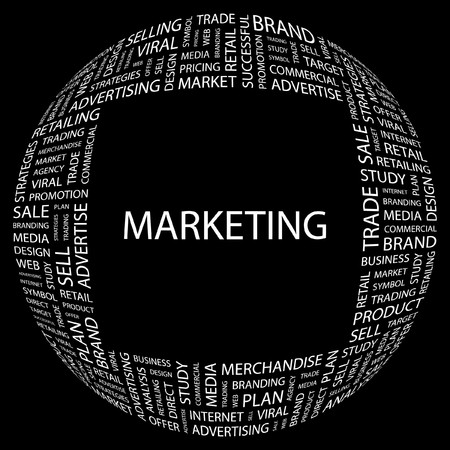 MARKETING. Word collage on black background. Stock Vector - 7346970