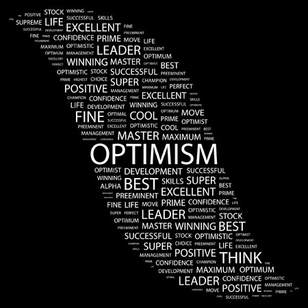 inimitable: OPTIMISM. Word collage on black background.