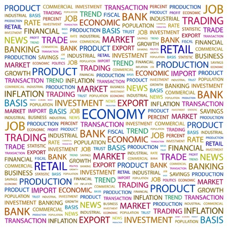 ECONOMY. Word collage on white background. Vector