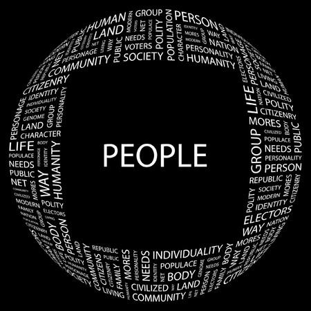 citizenry: PERSONAS. Palabra collage sobre fondo negro.