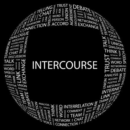INTERCOURSE. Word collage on black background. Stock Vector - 7346943